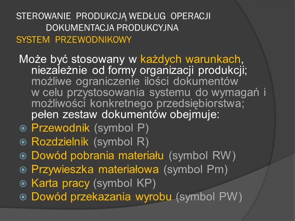 Rozdzielnik (symbol R) Dowód pobrania materiału (symbol RW)