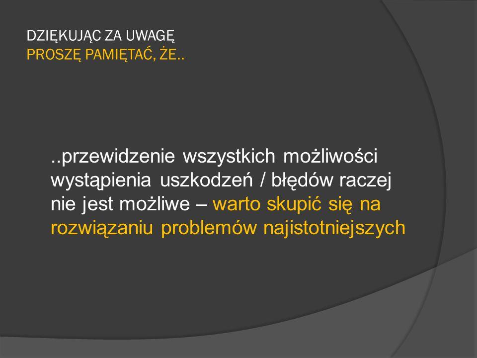 DZIĘKUJĄC ZA UWAGĘ PROSZĘ PAMIĘTAĆ, ŻE..