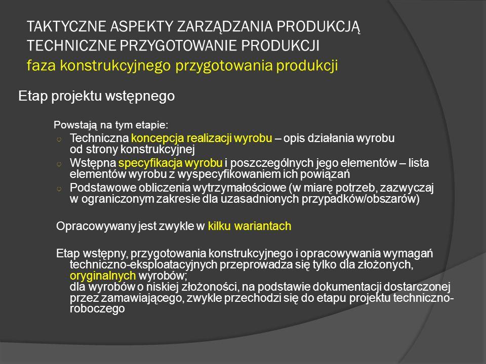 TAKTYCZNE ASPEKTY ZARZĄDZANIA PRODUKCJĄ TECHNICZNE PRZYGOTOWANIE PRODUKCJI faza konstrukcyjnego przygotowania produkcji