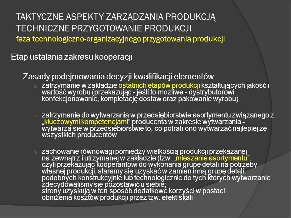 TAKTYCZNE ASPEKTY ZARZĄDZANIA PRODUKCJĄ TECHNICZNE PRZYGOTOWANIE PRODUKCJI faza technologiczno-organizacyjnego przygotowania produkcji