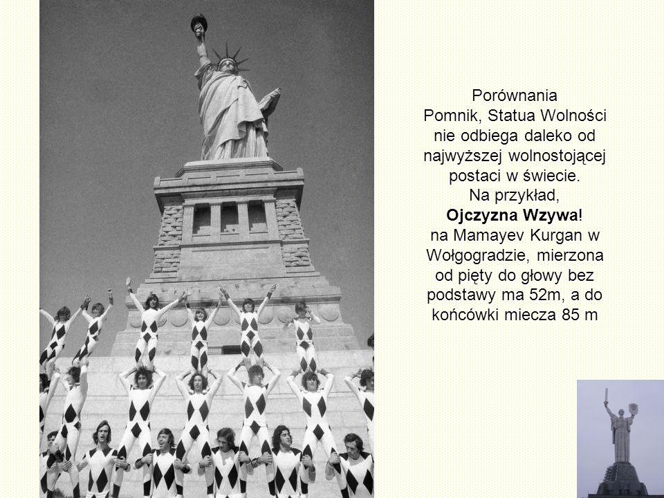 Porównania Pomnik, Statua Wolności nie odbiega daleko od najwyższej wolnostojącej postaci w świecie. Na przykład,