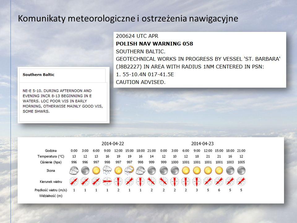 Komunikaty meteorologiczne i ostrzeżenia nawigacyjne