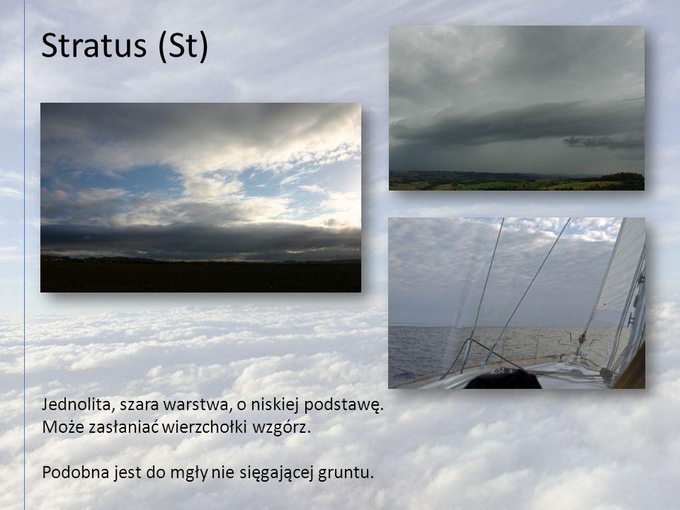 Stratus (St) Jednolita, szara warstwa, o niskiej podstawę.