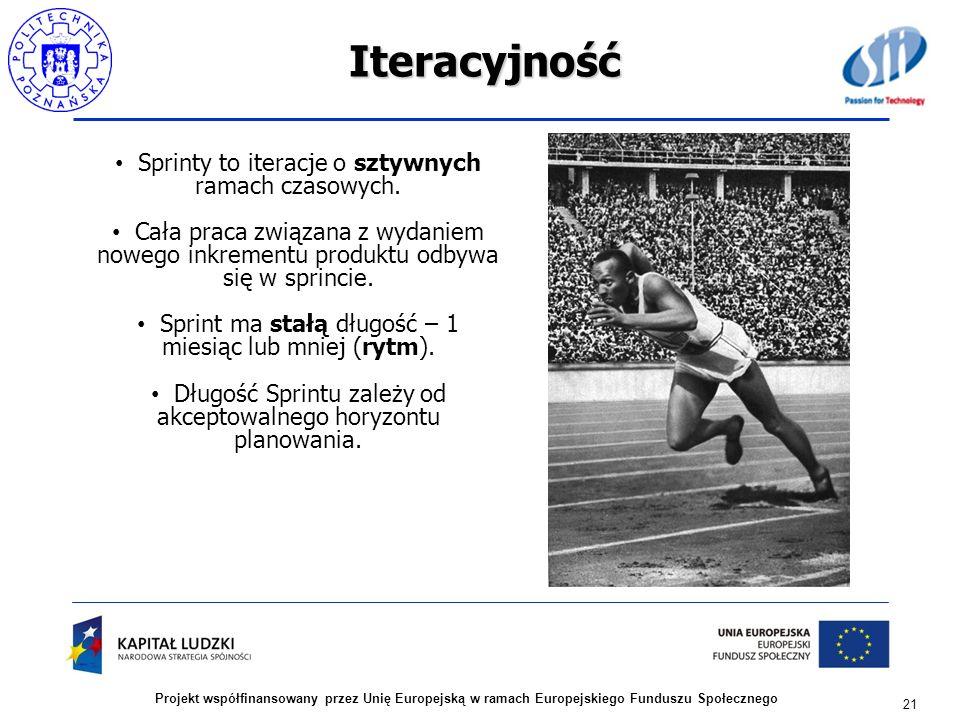 Iteracyjność Sprinty to iteracje o sztywnych ramach czasowych.