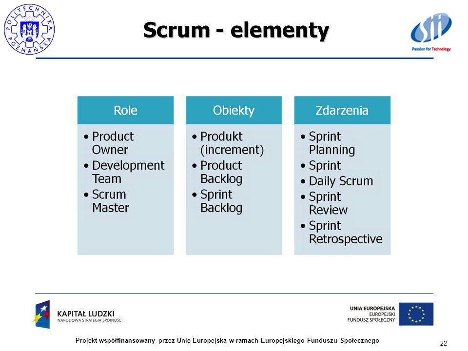 Scrum - elementy Projekt współfinansowany przez Unię Europejską w ramach Europejskiego Funduszu Społecznego.