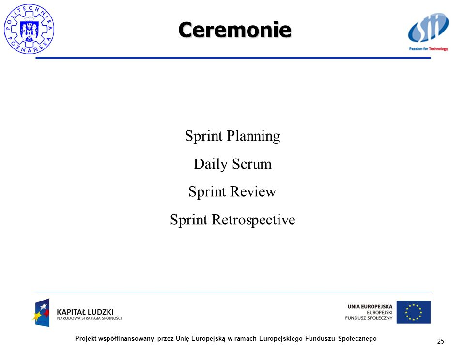 Ceremonie Sprint Planning Daily Scrum Sprint Review