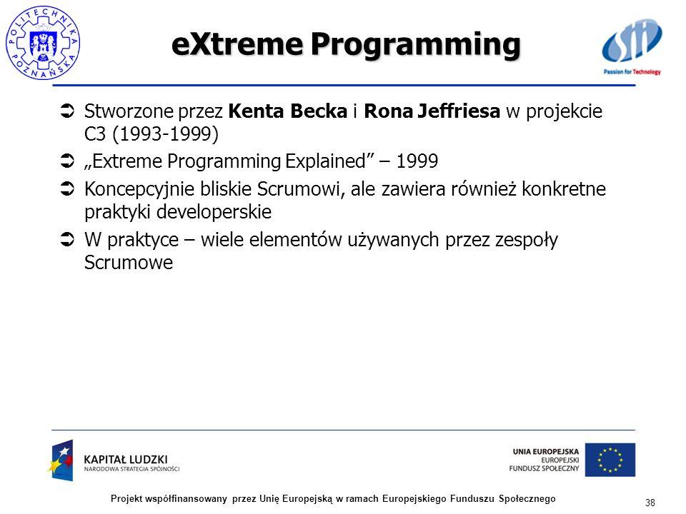 """eXtreme Programming Stworzone przez Kenta Becka i Rona Jeffriesa w projekcie C3 (1993-1999) """"Extreme Programming Explained – 1999."""