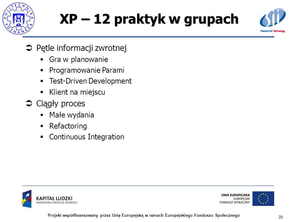 XP – 12 praktyk w grupach Pętle informacji zwrotnej Ciągły proces
