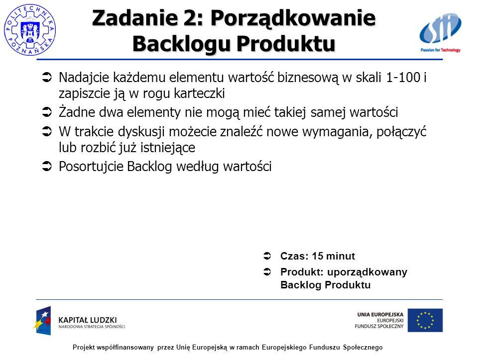 Zadanie 2: Porządkowanie Backlogu Produktu