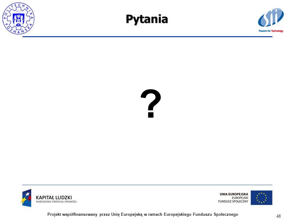 Pytania Projekt współfinansowany przez Unię Europejską w ramach Europejskiego Funduszu Społecznego.