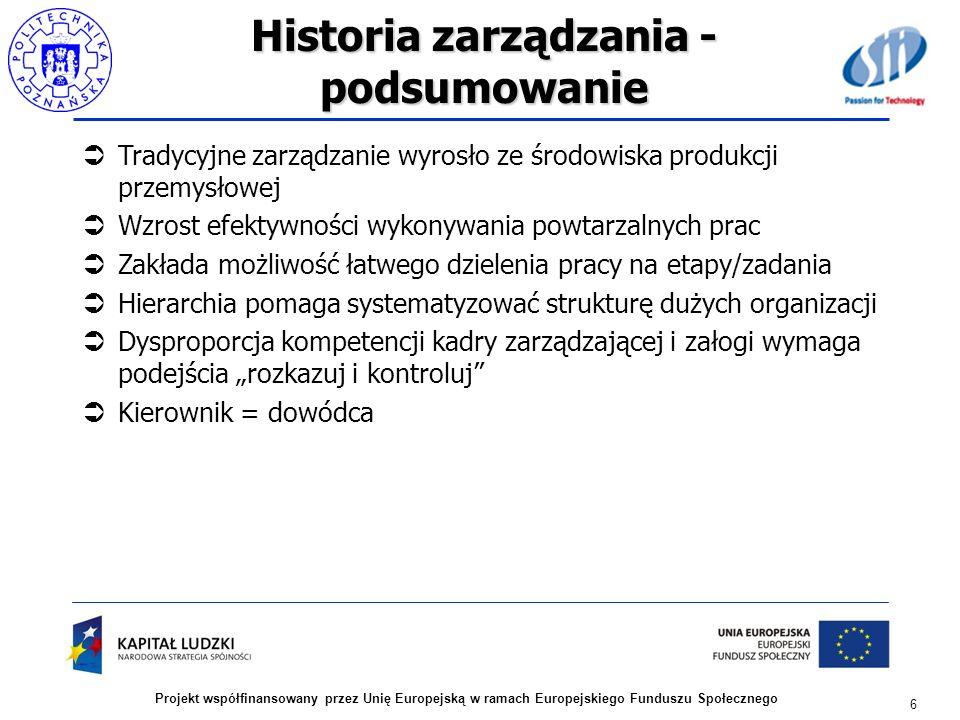 Historia zarządzania - podsumowanie