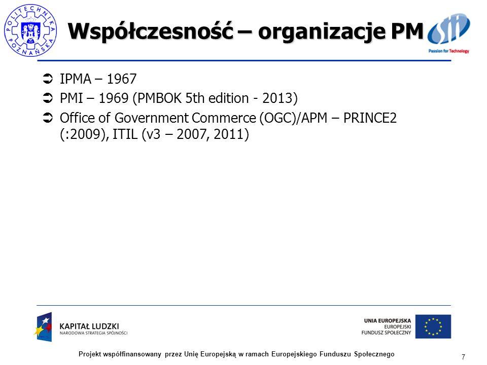 Współczesność – organizacje PM
