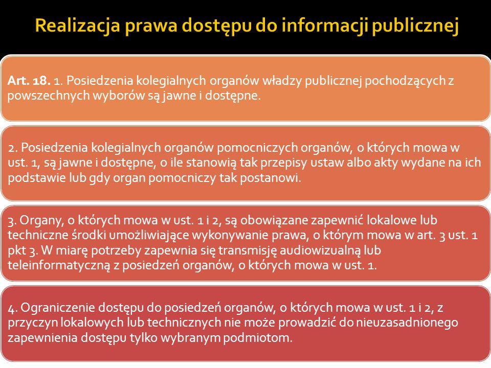 Realizacja prawa dostępu do informacji publicznej