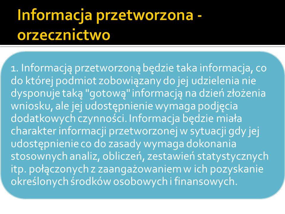 Informacja przetworzona - orzecznictwo