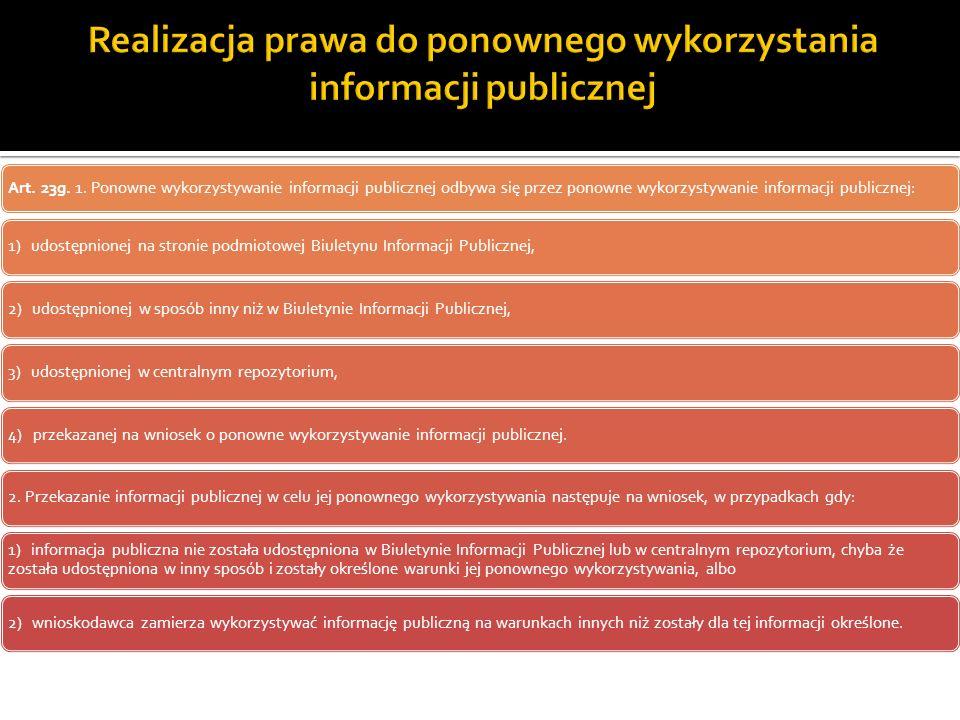 Realizacja prawa do ponownego wykorzystania informacji publicznej