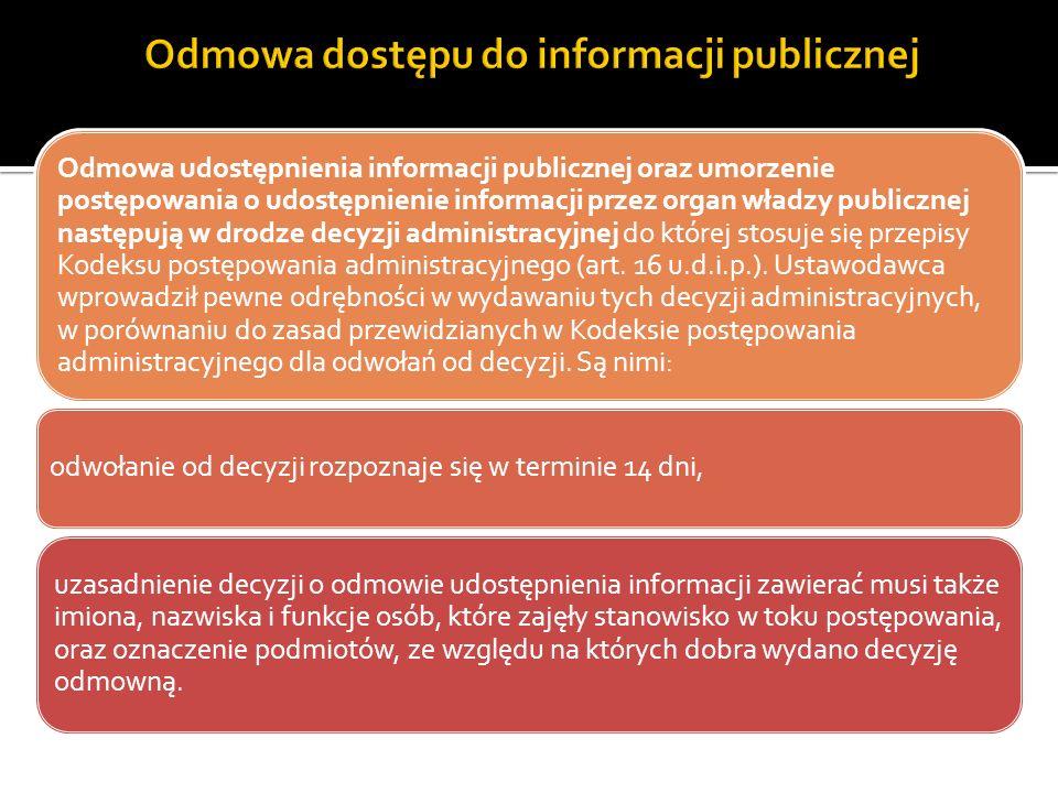 Odmowa dostępu do informacji publicznej