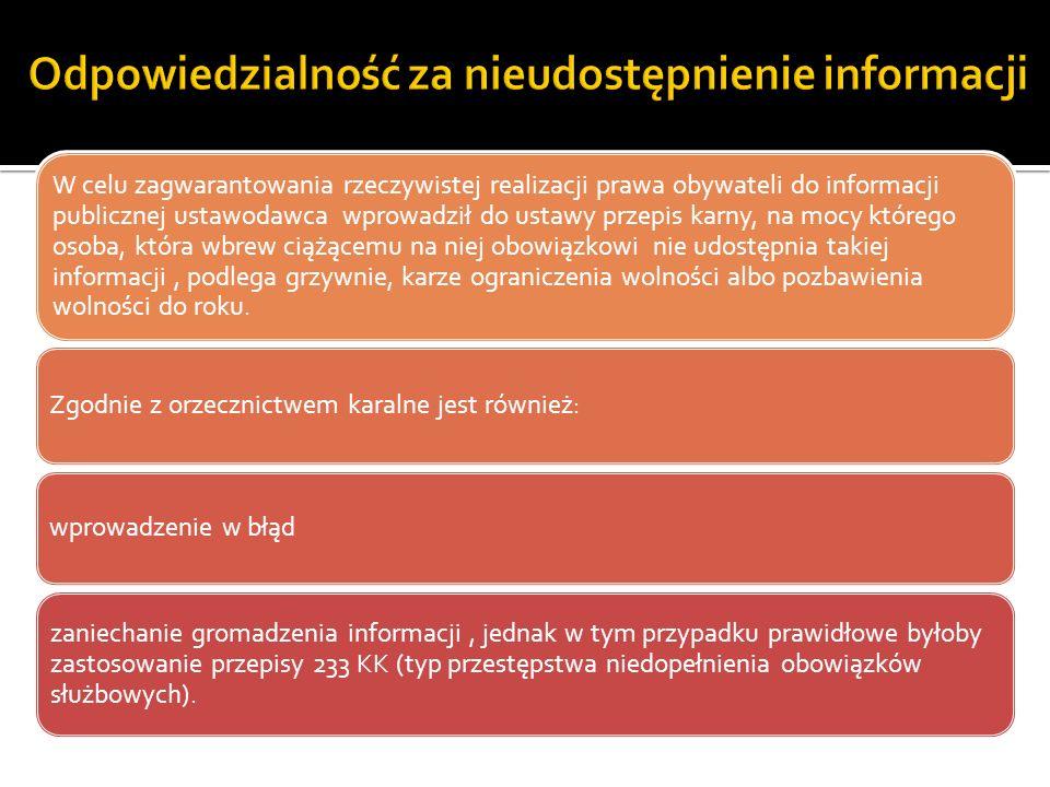 Odpowiedzialność za nieudostępnienie informacji