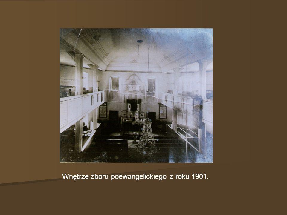 Wnętrze zboru poewangelickiego z roku 1901.