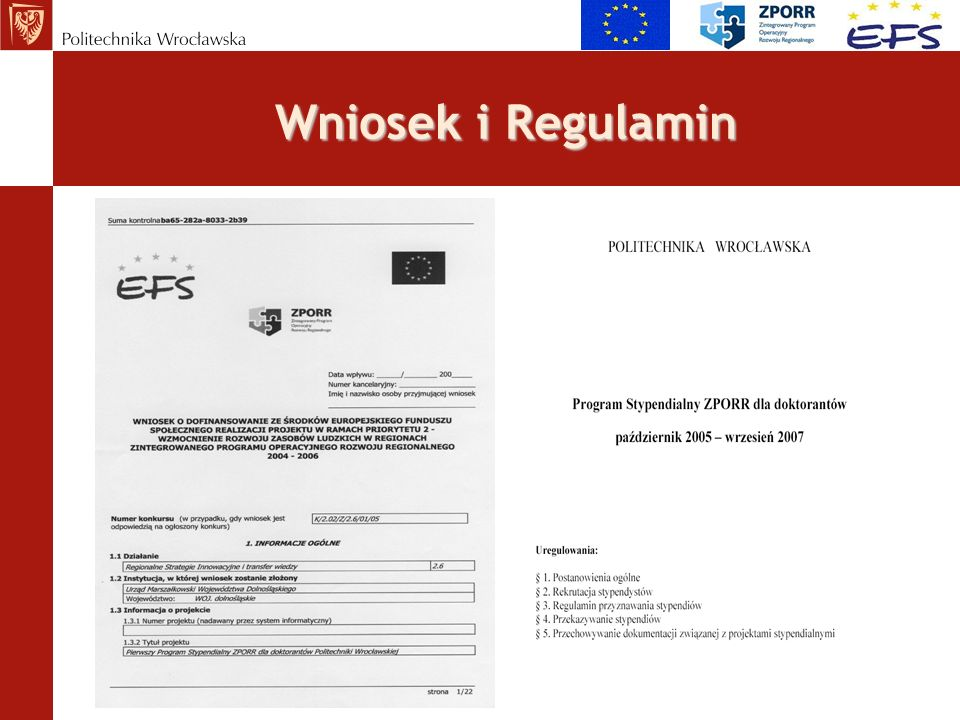 Wniosek i Regulamin
