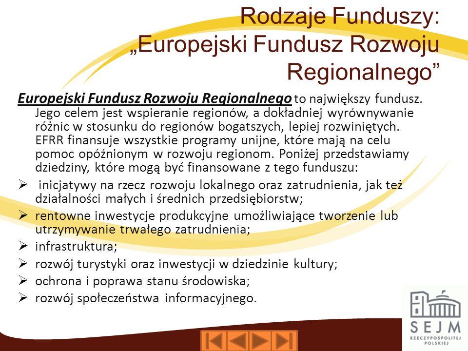 """Rodzaje Funduszy: """"Europejski Fundusz Rozwoju Regionalnego"""
