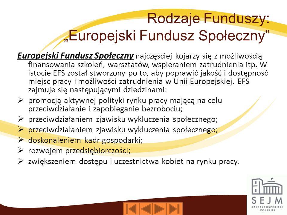 """Rodzaje Funduszy: """"Europejski Fundusz Społeczny"""