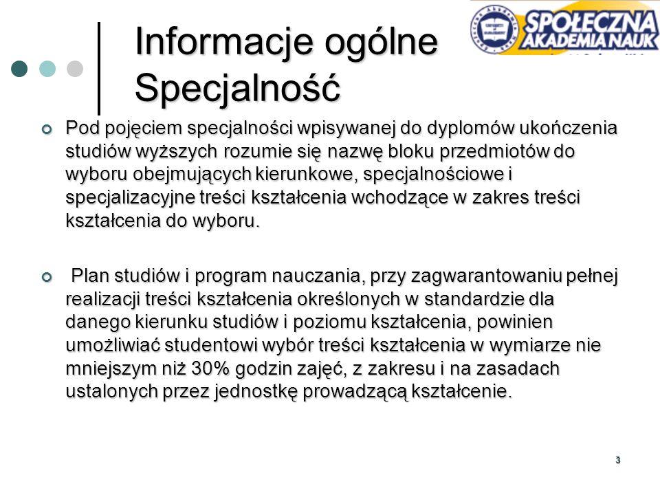 Informacje ogólne Specjalność