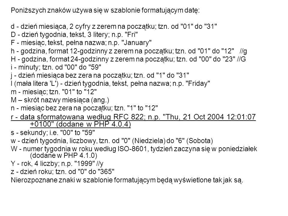 Poniższych znaków używa się w szablonie formatującym datę:
