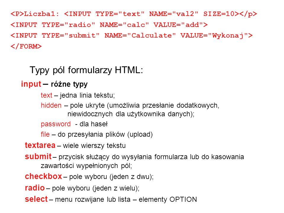 Typy pól formularzy HTML: input – różne typy