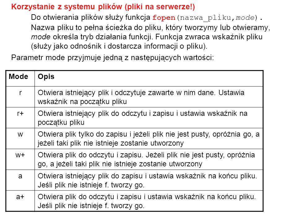 Korzystanie z systemu plików (pliki na serwerze!)