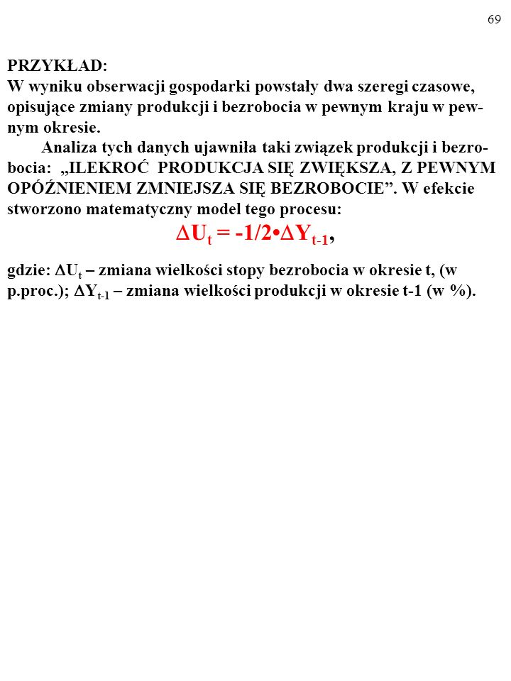 Ut = -1/2•Yt-1, PRZYKŁAD: