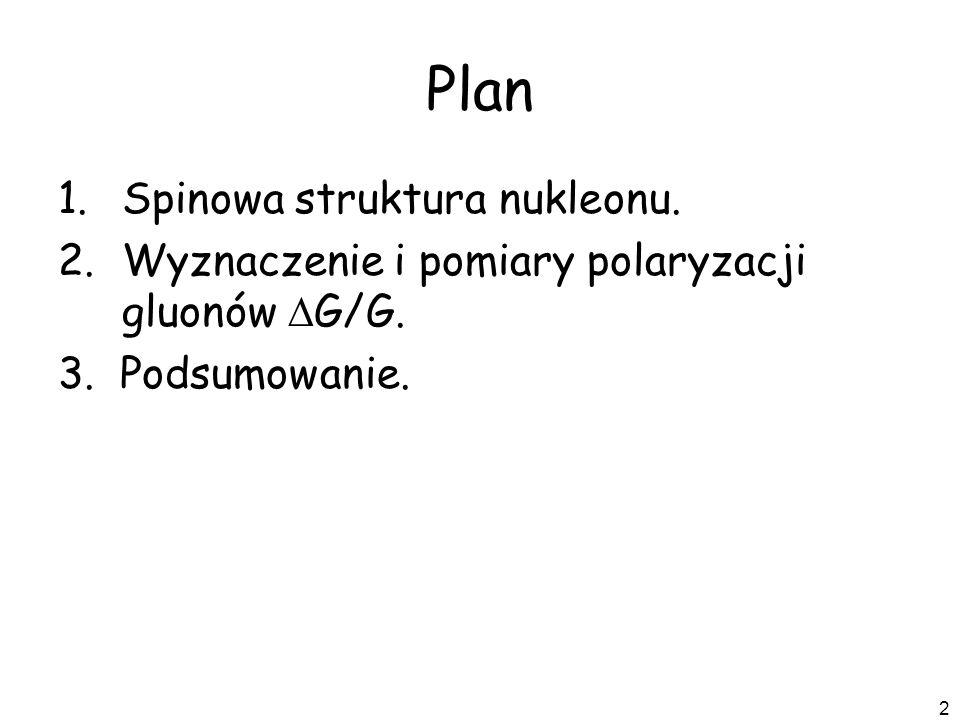 Plan Spinowa struktura nukleonu.
