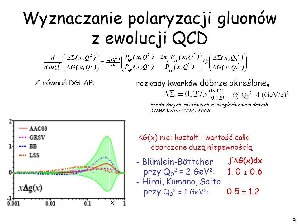 Wyznaczanie polaryzacji gluonów z ewolucji QCD
