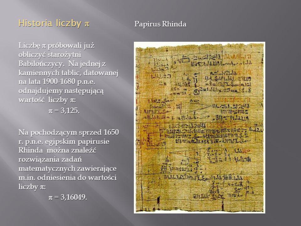 Historia liczby π Papirus Rhinda