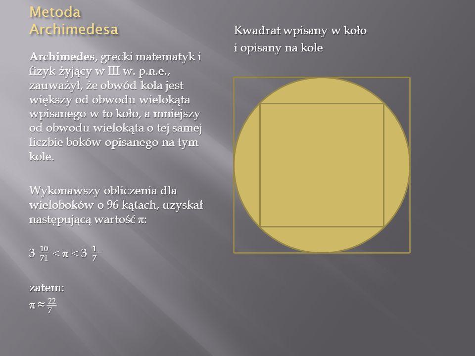 Metoda Archimedesa Kwadrat wpisany w koło i opisany na kole