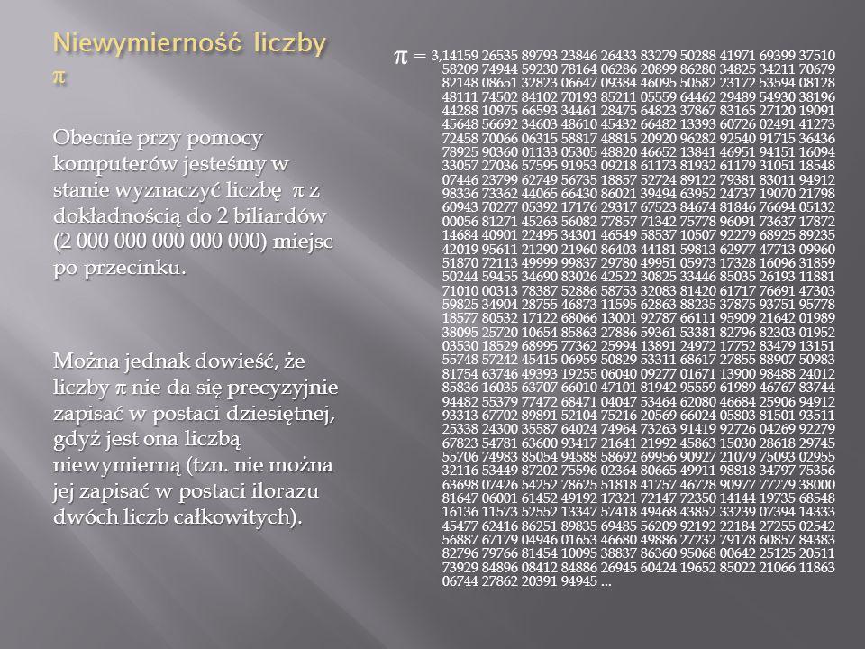 Niewymierność liczby π