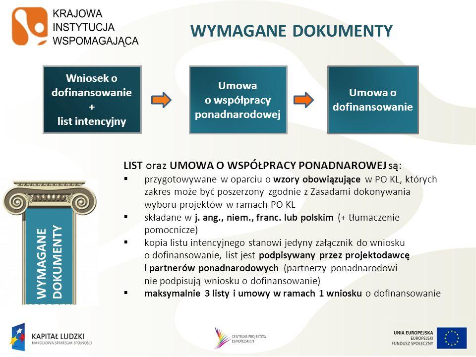 WYMAGANE DOKUMENTY WYMAGANE DOKUMENTY Wniosek o dofinansowanie Umowa