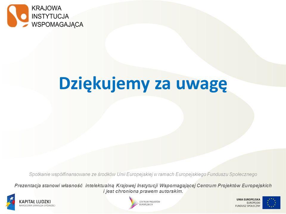 Dziękujemy za uwagę Spotkanie współfinansowane ze środków Unii Europejskiej w ramach Europejskiego Funduszu Społecznego.