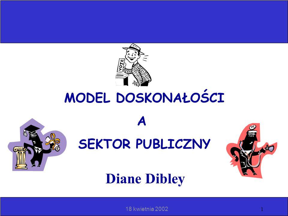 MODEL DOSKONAŁOŚCI A SEKTOR PUBLICZNY Diane Dibley 18 kwietnia 2002