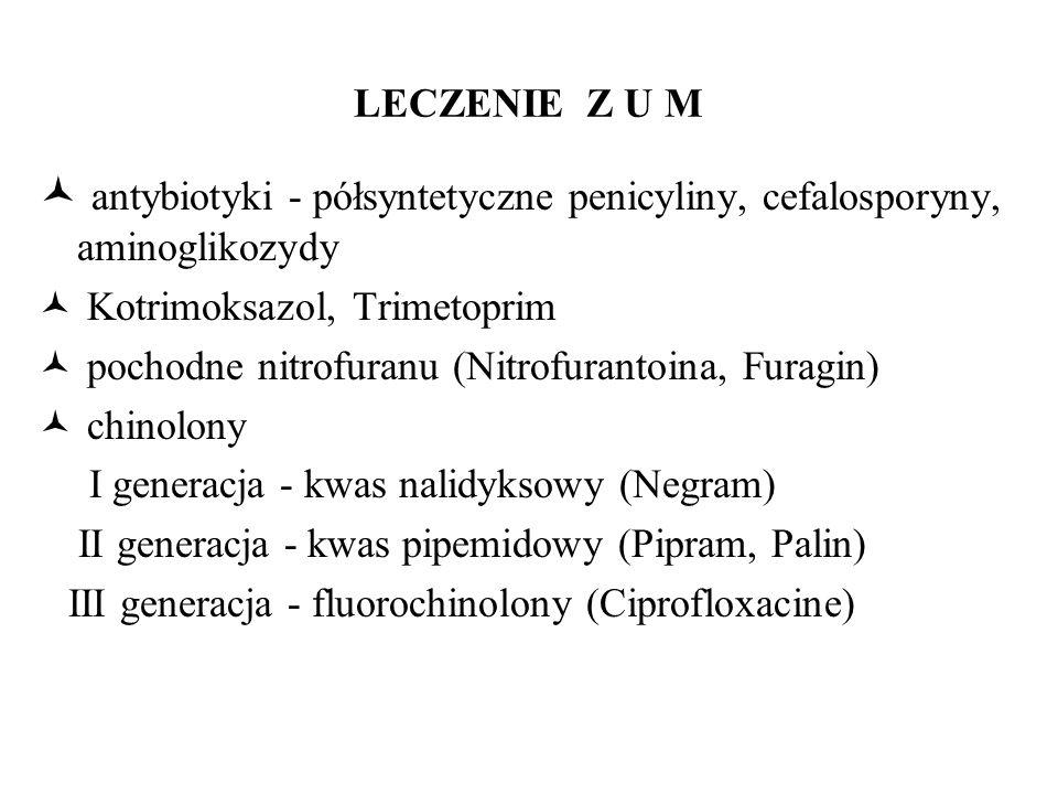 antybiotyki - półsyntetyczne penicyliny, cefalosporyny, aminoglikozydy