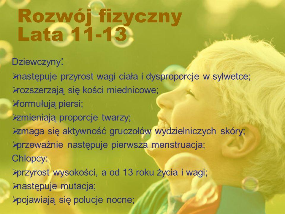 Rozwój fizyczny Lata 11-13 Dziewczyny: