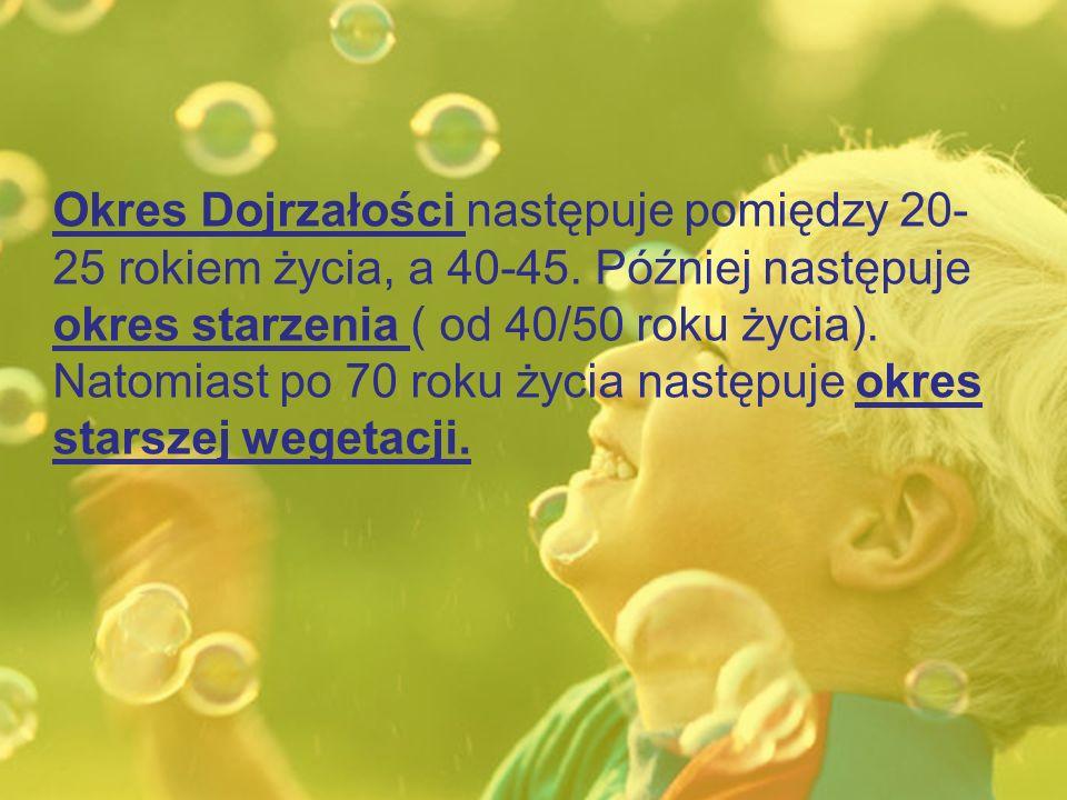 Okres Dojrzałości następuje pomiędzy 20-25 rokiem życia, a 40-45