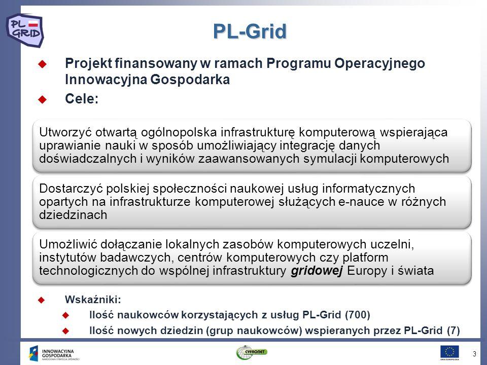 PL-GridProjekt finansowany w ramach Programu Operacyjnego Innowacyjna Gospodarka. Cele: