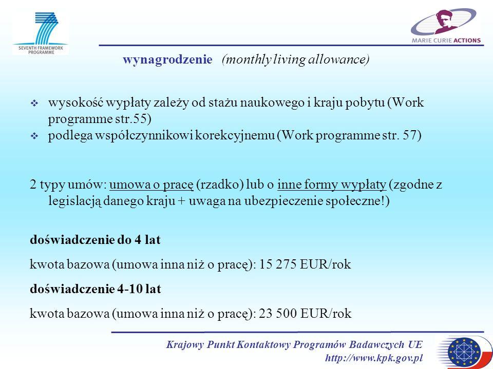 wynagrodzenie (monthly living allowance)