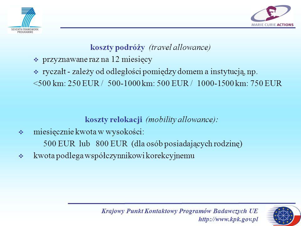 koszty podróży (travel allowance) przyznawane raz na 12 miesięcy