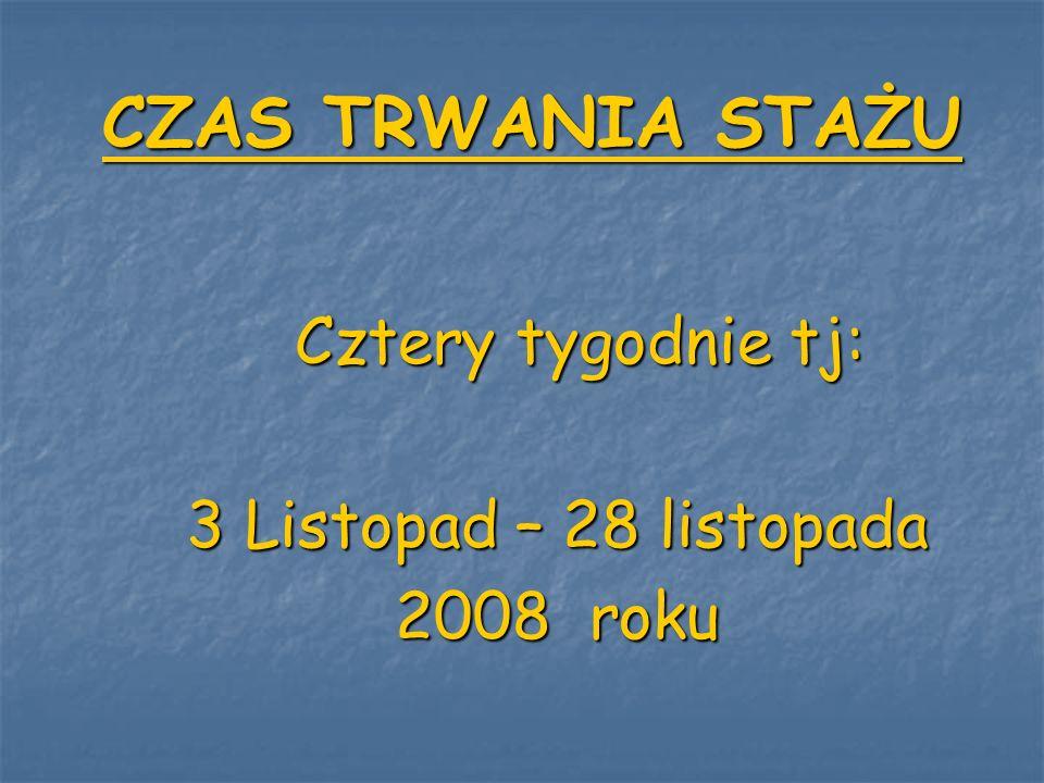 CZAS TRWANIA STAŻU 3 Listopad – 28 listopada 2008 roku