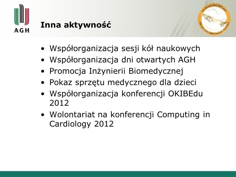 Inna aktywność Współorganizacja sesji kół naukowych. Współorganizacja dni otwartych AGH. Promocja Inżynierii Biomedycznej.