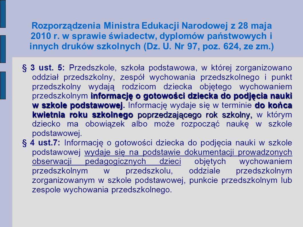 Rozporządzenia Ministra Edukacji Narodowej z 28 maja 2010 r