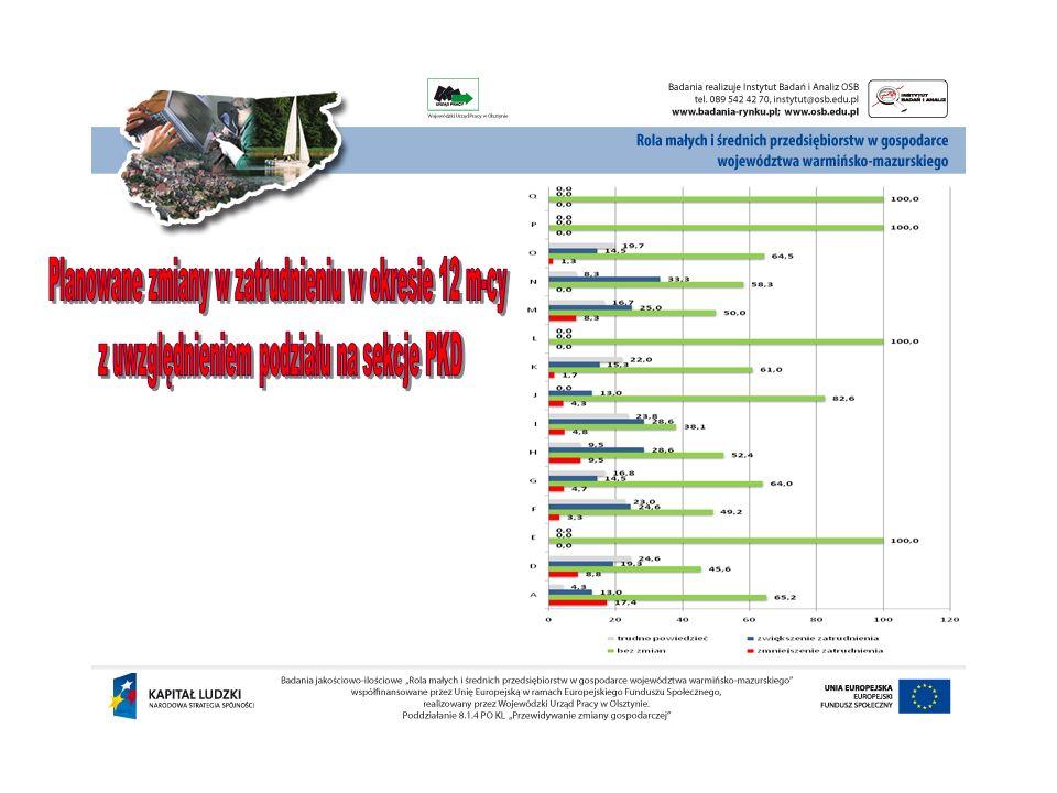 Planowane zmiany w zatrudnieniu w okresie 12 m-cy