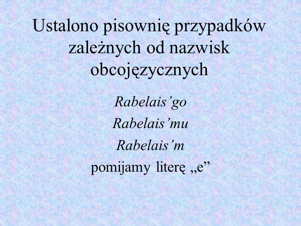 Ustalono pisownię przypadków zależnych od nazwisk obcojęzycznych
