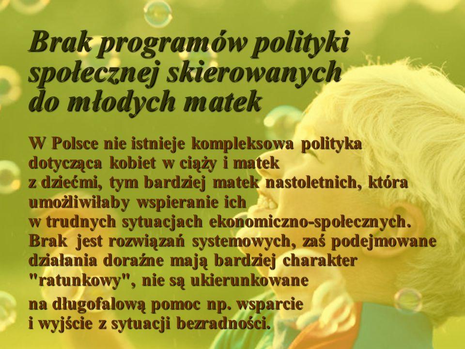 Brak programów polityki społecznej skierowanych do młodych matek